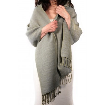 Linen shawl hand-knitted in...